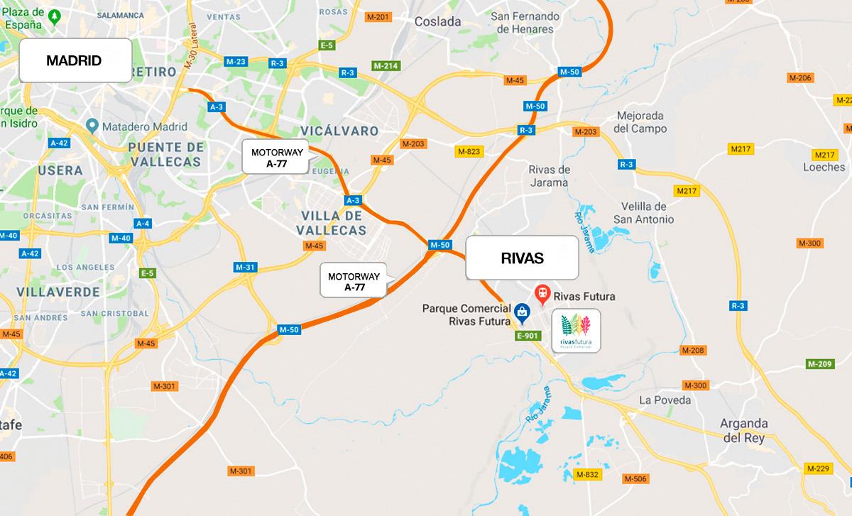 Como llegar Parque comercial Rivas Futura